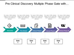 Pre Clinical Discovery Multiple Phase Gate With Horizontal Arrows And Icons