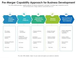 Pre Merger Capability Approach For Business Development