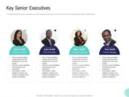 Pre Seed Money Pitch Deck Key Senior Executives Ppt Powerpoint Presentation Model Graphics