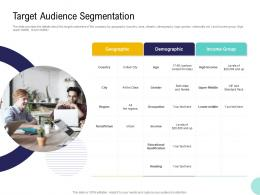 Pre Seed Money Pitch Deck Target Audience Segmentation Ppt Powerpoint Example Topics
