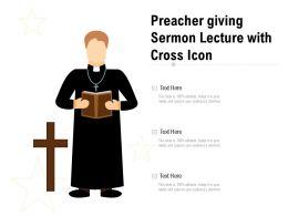Preacher Giving Sermon Lecture With Cross Icon