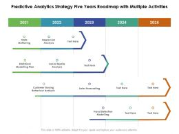Predictive Analytics Strategy Five Years Roadmap With Multiple Activities