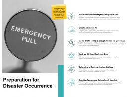 Preparation For Disaster Occurrence Communication Strategy Ppt Slides