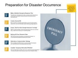 Preparation For Disaster Occurrence Electronic Data Ppt Powerpoint Slides