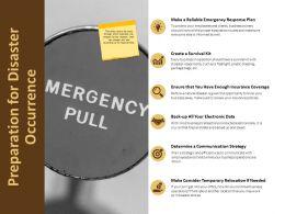Preparation For Disaster Occurrence Response Plan Ppt Powerpoint Presentation Portfolio Ideas