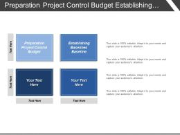 Preparation Project Control Budget Establishing Baselines Baseline