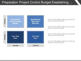 Preparation Project Control Budget Establishing Baselines Baseline