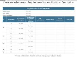 Prerequisite Represents Requirements Traceability Matrix Description