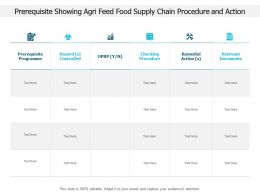 Prerequisite Showing Agri Feed Food Supply Chain Procedure And Action