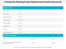 Prerequisite Showing Project Requirements Details Documents