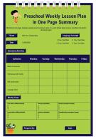 Preschool Weekly Lesson Plan In One Page Summary Presentation Report Infographic PPT PDF Document