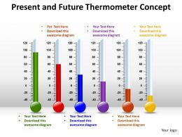 present and future thermometer concept powerpoint templates 0712