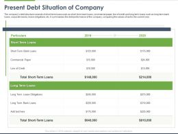 Present Debt Situation Of Company Ppt Powerpoint Presentation Outline Inspiration
