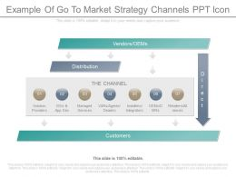 Present Example Of Go To Market Strategy Channels Ppt Icon