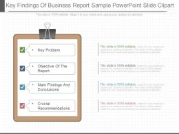 Present Key Findings Of Business Report Sample Powerpoint Slide Clipart