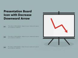 Presentation Board Icon With Decrease Downward Arrow