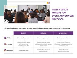 Presentation Format For Event Announcer Proposal Ppt Powerpoint Presentation Slides