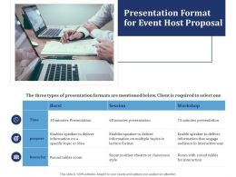 Presentation Format For Event Host Proposal Ppt Powerpoint Presentation Styles