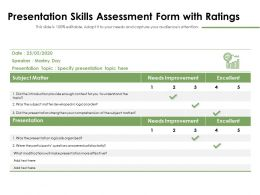 Presentation Skills Assessment Form With Ratings