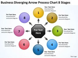presentations diverging arrow process chart 8 stages Charts and Diagrams PowerPoint Slides