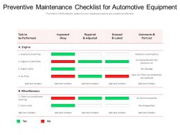 Preventive Maintenance Checklist For Automotive Equipment