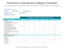Preventive Maintenance Report Checklist