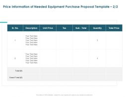 Price Information Of Needed Equipment Purchase Proposal Quantity Ppt Slides