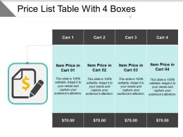 Price List Table With 4 Boxes