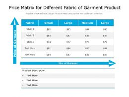 Price Matrix For Different Fabric Of Garment Product