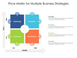 Price Matrix For Multiple Business Strategies