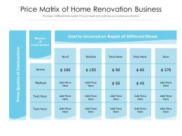Price Matrix Of Home Renovation Business