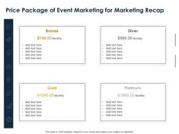 Price Package Of Event Marketing For Marketing Recap Ppt Powerpoint Presentation Slides Structure