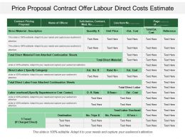 Price Proposal Contract Offer Labour Direct Costs Estimate