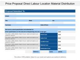 Price Proposal Direct Labour Location Material Distribution