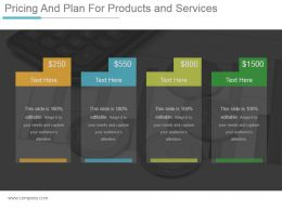 Pricing And Plan For Products And Services Ppt Example Professional