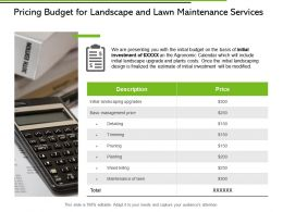 Pricing Budget For Landscape And Lawn Maintenance Services Ppt Slides