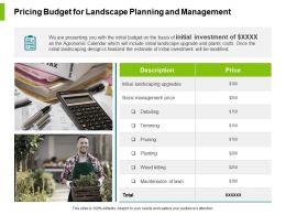 Pricing Budget For Landscape Planning And Management Ppt Slides