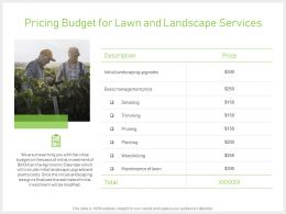 Pricing Budget For Lawn And Landscape Services Ppt Slides