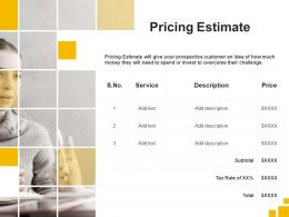 Pricing Estimate Service Ppt Powerpoint Presentation Styles Background Designs
