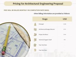 Pricing For Architectural Engineering Proposal Ppt Powerpoint Maker
