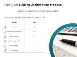 Pricing For Building Architecture Proposal Ppt Powerpoint Presentation Styles Example File