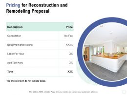 Pricing For Reconstruction And Remodeling Proposal Ppt Powerpoint Presentation Inspiration Portfolio