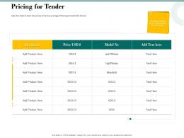 Pricing For Tender Bid Evaluation Management Ppt Powerpoint Presentation File Ideas