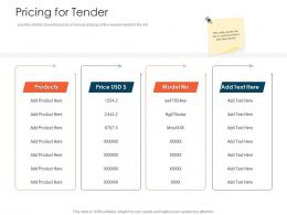 Pricing For Tender Tender Management Ppt Icons