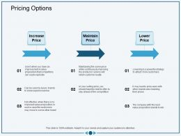 Pricing Options To Stay Ahead Ppt Powerpoint Presentation Icon Demonstration