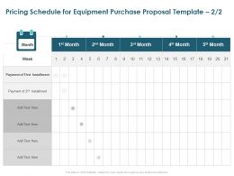 Pricing Schedule For Equipment Purchase Proposal Installment Ppt Format