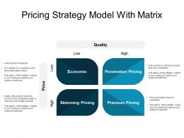 Pricing Strategy Model With Matrix