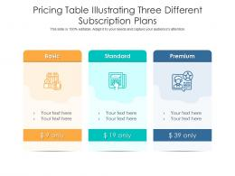 Pricing Table Illustrating Three Different Subscription Plans Infographic Template