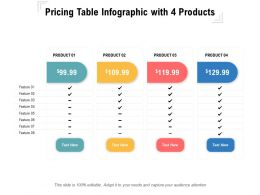 Pricing Table Infographic With 4 Products