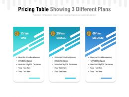 Pricing Table Showing 3 Different Plans